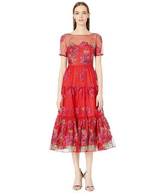 Marchesa Short Sleeve Floral Embroidered Tea-Length Gown with Trim