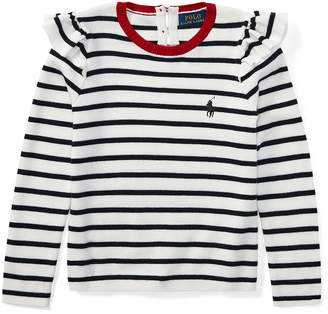 Ralph Lauren Ruffled Striped Cotton Sweater