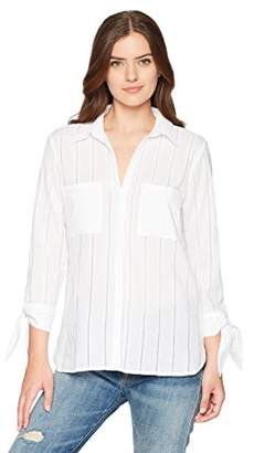 Chaus Women's 3/4 Tie Slv Striped Eyelet Two Pkt Shirt