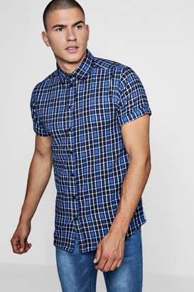 boohoo Blue Check Short Sleeve Shirt