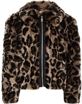 River Island Girls brown leopard print faux fur zip jacket
