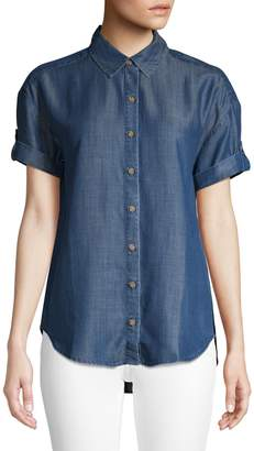 Lord & Taylor Petite Short Roll Sleeve Button-Down Shirt