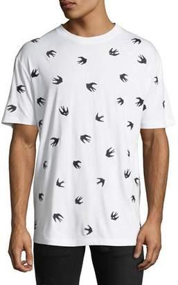 McQ Men's Dropped Shoulder Swallows Graphic T-Shirt