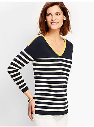 Talbots Stripe V-neck Sweater