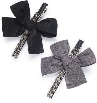 INC International Concepts I.n.c. Silver-Tone 2-Pc. Set Crystal & Bow Hair Clips, Created for Macy's