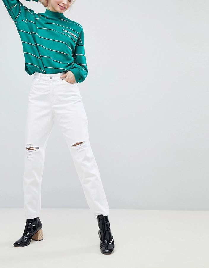 – Taiki – Weiße Mom-Jeans mit hoher Taille im Used-Look