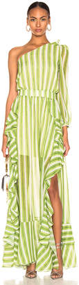 PatBO Striped One Shoulder Maxi Dress in Green & White | FWRD