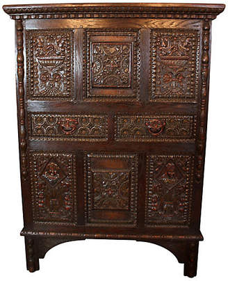 One Kings Lane Vintage Renaissance Revival Oak Cupboard