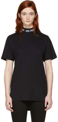 Won Hundred Black Prague Logo Collar T-Shirt