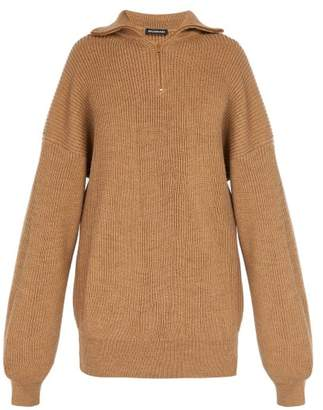 Balenciaga - Half Zip Wool Blend Sweater - Mens - Cream