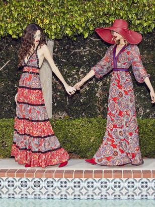 Alice + Olivia JAIDA DEEP V MAXI DRESS