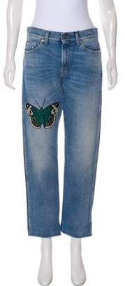 Gucci 2016 Butterfly Appliqué Mid-Rise Jeans w/ Tags