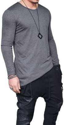 Stylish&Young Men's Casual Hisper Hip Hop Neck Irregular Hem Long Sleeve Slim Fit T-Shirts (M, Grey)