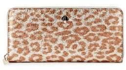 Kate Spade Animal-Print Leather Zip-Around Wallet