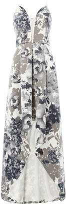 Adrianna Papell V neck printed gown with high low hem