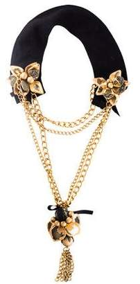 Marni Multistrand Pyrite & Horn Flower Statement Necklace