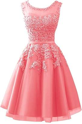 Cdress Homecoming Dresses Short Tulle Junior Prom Dress Lace Appliques Evening Gowns