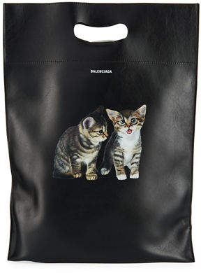 Balenciaga Men's Small Kitten Graphic Leather Shopper Tote Bag
