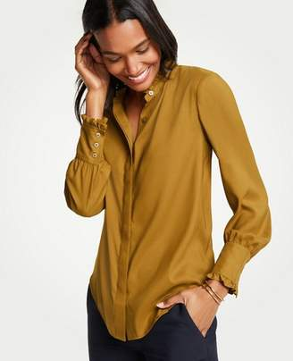 Ann Taylor Petite Ruffle Neck Button Down Blouse