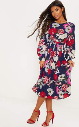 PrettyLittleThing Navy Floral Print Belted Midi Dress f7c748b85