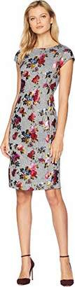 ECI New York Women's Cap Sleeve Floral Foiled Printed Menswear midi Dress
