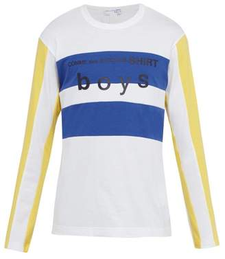Comme des Garcons Boys Striped Long Sleeved T Shirt - Mens - White
