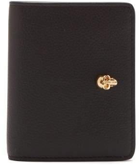 Alexander McQueen Skull Plaque Grained Leather Wallet - Womens - Black