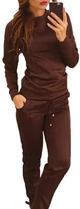 XARAZA Women's 2Pcs Tracksuit Set, Long Sleeve Sweatshirt Pullover Sweat Pants Outwear
