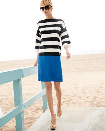 Joan Vass Colorblock Striped Dress, Women's