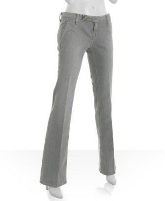 Raven light grey denim 'Mckenzie' flare leg stretch trousers