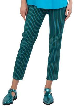 Akris Punto Striped Straight-Leg Cotton-Stretch Pants