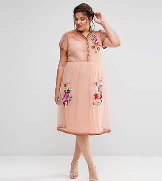 Asos PREMIUM Mesh Skater midi dress with Embellishment & Embroidery
