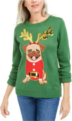 Karen Scott Sequined Pug Holiday Sweater