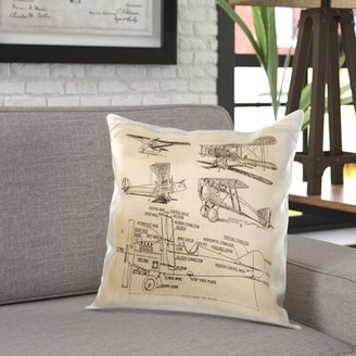Williston Forge Battaglia Early 1900S Sketch of Airplanes Pillow Cover Williston Forge
