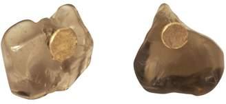 Lily Flo Jewellery - Smokey Quartz Slice On Solid Gold Stud Earrings