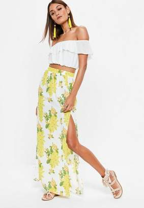 Missguided Yellow Floral Print Split Maxi Skirt