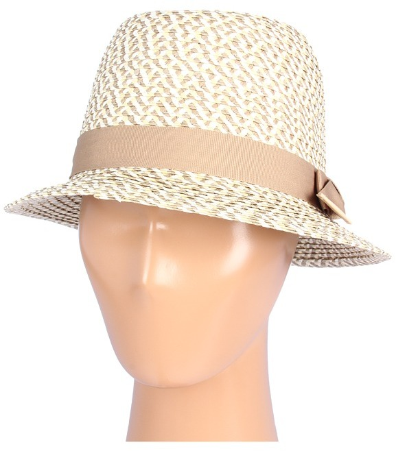 Hat Attack Tweed Fedora with Grosgrain Ribbon and Natural Leather Tabs Trim (Tweed/Khaki) - Hats