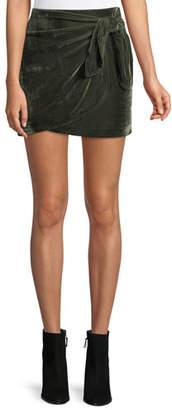 Cupcakes And Cashmere Koshi Draped Tie-Front Velvet Mini Skirt