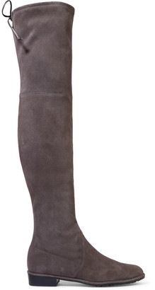 Stuart Weitzman - Lowland Suede Over-the-knee Boots - Gray $800 thestylecure.com