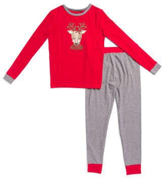 Kids Girly Reindeer Top With Leggings Set