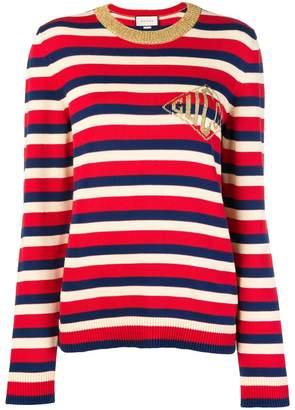Gucci striped logo embroidered jumper