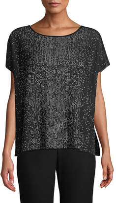 Eileen Fisher Sleek Tencel Printed Short-Sleeve Sweater