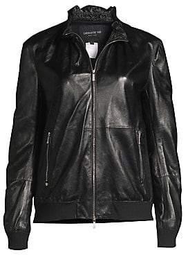 Lafayette 148 New York Women's Kiki Ruffled Collar Leather Jacket