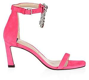 Stuart Weitzman Women's Fringe Square Embellished Satin Sandals