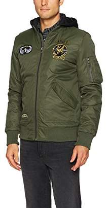X-Ray Men's Slim Fit Flight Jacket with Removable Hood