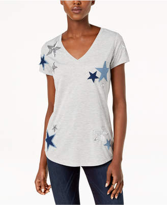 INC International Concepts I.n.c. Star-Patched Sequined Top, Created for Macy's