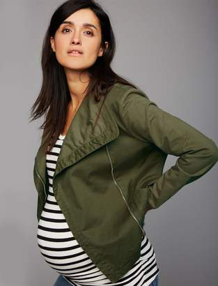 A Pea in the Pod Drape Front Twill Maternity Jacket