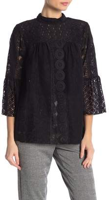 Anna Sui Rows Of Flowers Lace Top