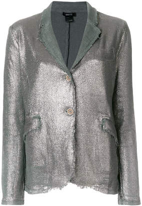 Avant Toi metallic stitched raw edge blazer