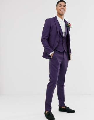 Asos Design DESIGN wedding skinny suit trousers in berry twill